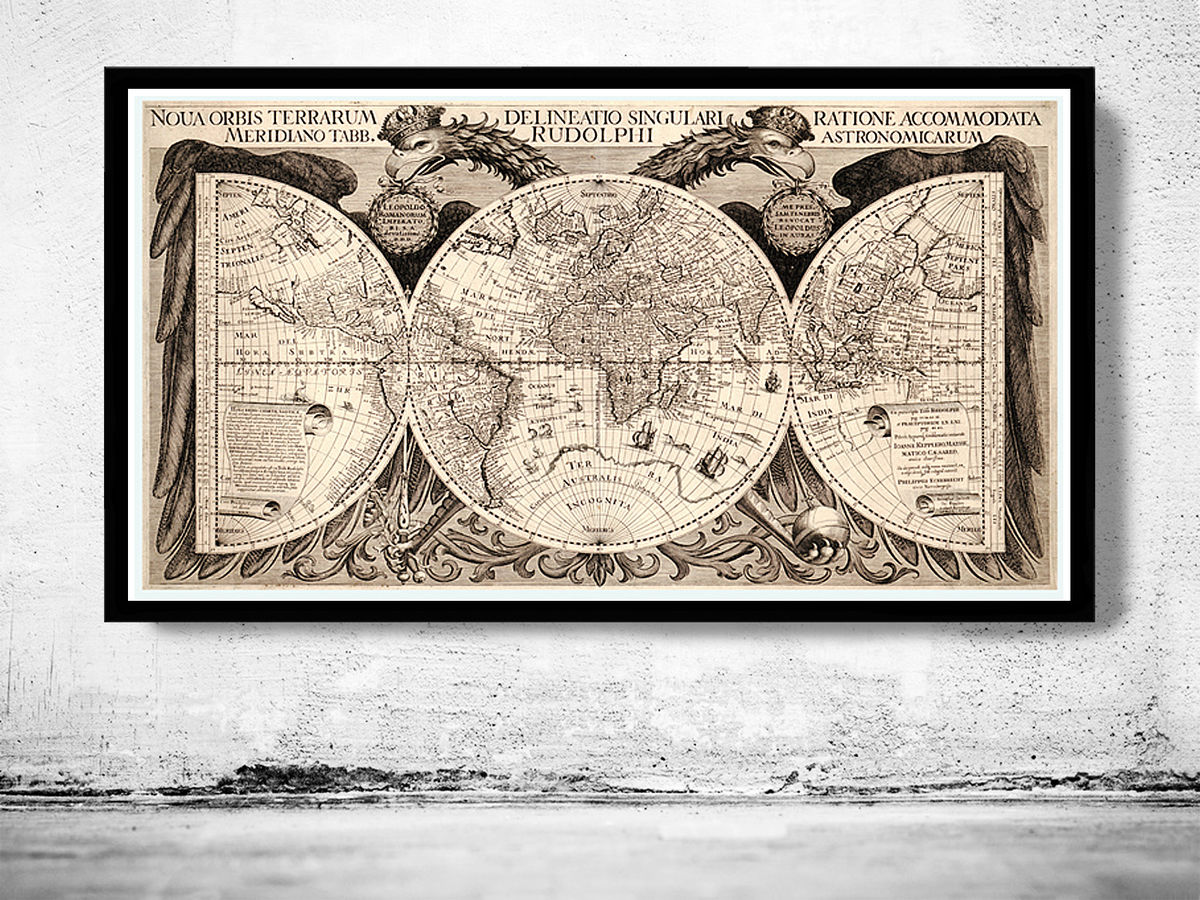 Old World Map Antique Atlas 1630 Vintage World Map - product images  of