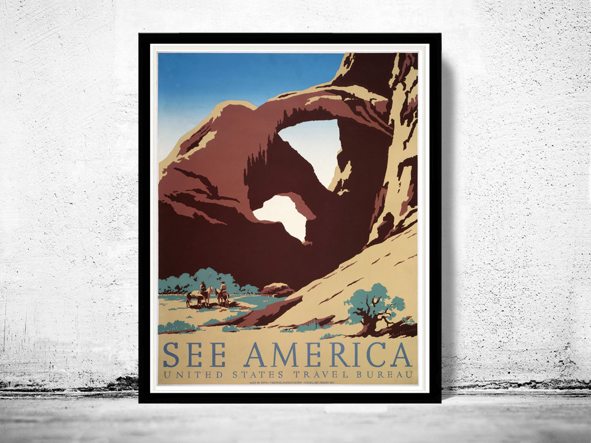 Vintage Poster of America United States  1938 Tourism poster travel - product image