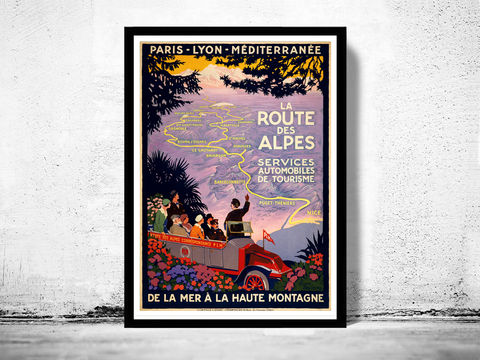 Vintage,Poster,of,La,Route,des,Alpes,Paris-Lion,1920,Tourism,poster,travel,Art,Reproduction,Open_Edition,vintage_poster,travel_poster,alpes_poster,paris,lion,nice,france_decor,alps,france_tourism,travel_france,car_travel,alps_tour,retro_poster