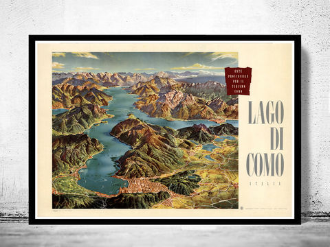 Vintage,Poster,of,Lago,Di,Como,Lake,Italy,Italia,lago di como, lake como italy, lago di como poster, vintage poster