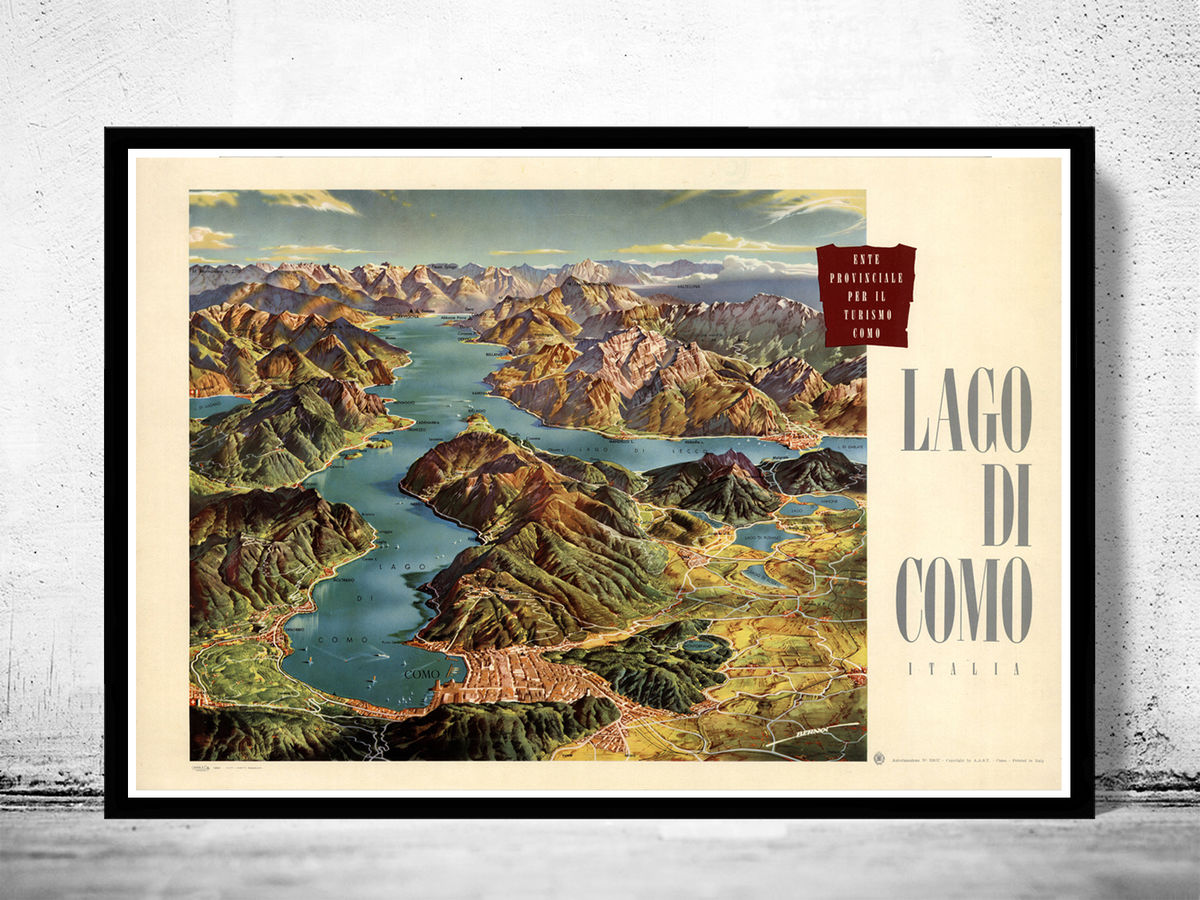 Vintage Poster of Lago Di Como Lake Como Italy Italia   - product images  of