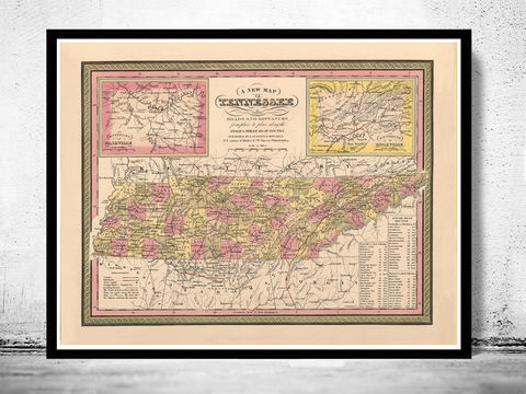 Vintage,map,of,Tennessee,1849,,United,States,America,tennessee, tennessee poster, tennessee map, map of tennesse, old map, vintage map, antique map, tennesse poster