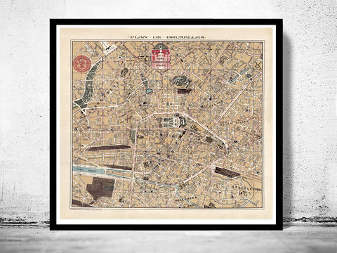 Old,Map,of,Brussels,Bruxelles,,Belgium,1924,Art,Reproduction,Open_Edition,illustration,europe,belgium,bruges,brugges,old_map,city_plan,_poster,brussels, brussels poster, bruxelles, bruxelles map