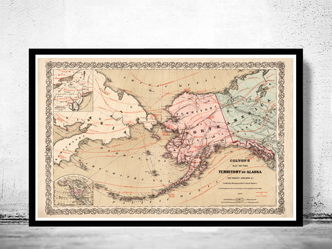 Old,Map,of,Alaska,1868,Vintage,alaska print, old map of alaska, Art,Reproduction,Open_Edition,vintage_map,north_america,alaska,alaska_vintage,alaska_map,old_alaska_map,vintage_map_alaska,alaska_line,all_american_route,old_map_of_alaska, alaska gift, old maps for sale, alaska poster