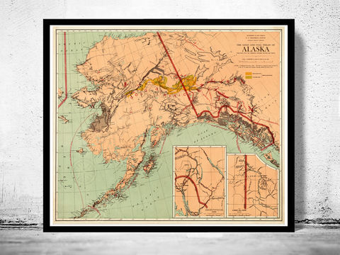 Old,Map,of,Alaska,1898,alaska print, old map of alaska, Art,Reproduction,Open_Edition,vintage_map,north_america,alaska,alaska_vintage,alaska_map,old_alaska_map,vintage_map_alaska,alaska_line,all_american_route,old_map_of_alaska, alaska gift, old maps for sale, alaska poster