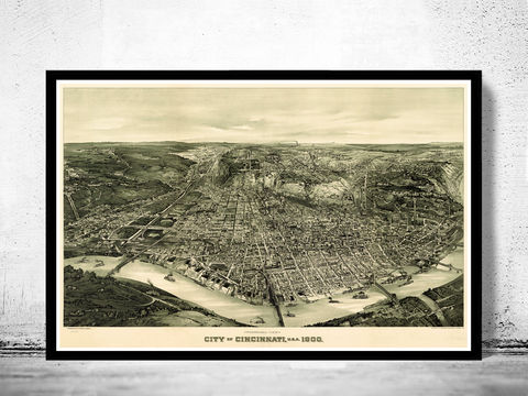Cincinnati,Ohio,Panoramic,View,Vintage,1900,cincinnati, cincinnati ohio, cincinnati map, map of cincinnati, vintage map, old map, birdseye view, panoramic view