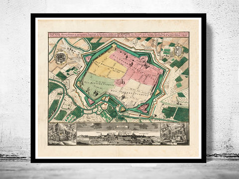 Old,Map,of,Leipzig,with,gravures,,,Germany,Deutshland,1735,leipzig map, map of leipzig, old map leipzig, leipzig, leipzig poster, leipzig germany, old map, deutshland,