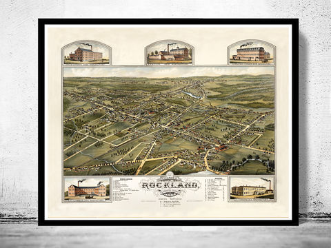 Old,Map,of,Rockland,Massachusetts,1881,Birdseye,view,rockland, massachusetts, rockland map, antique map, vintage map, old map