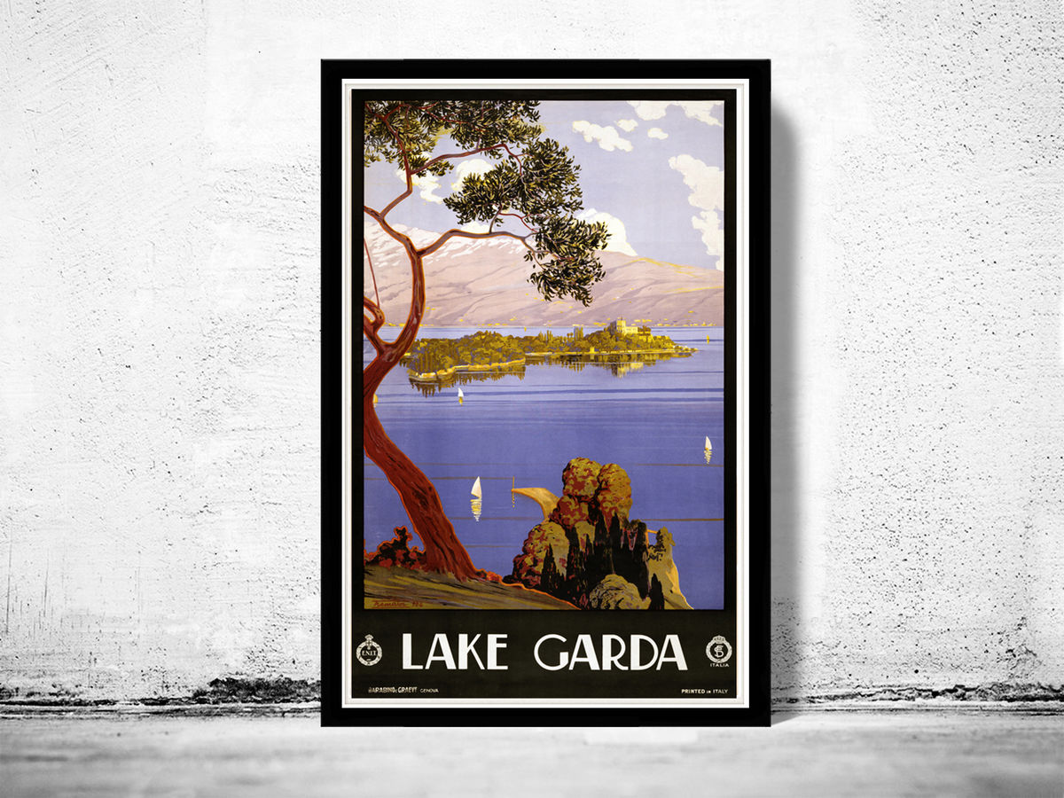 Vintage Poster of Lake Garda Italy Italia  1924 Tourism poster travel  - product images  of