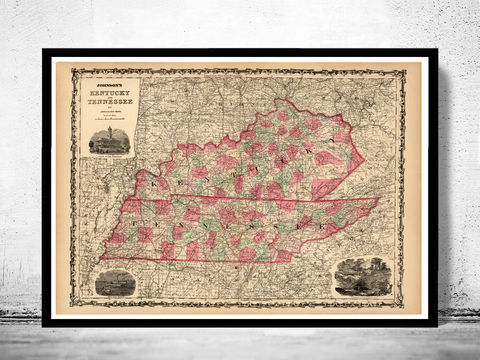 Vintage,map,of,Tennesee,and,kentucky,1864,tennessee, tennessee poster, tennessee map, map of tennesse, old map, vintage map, antique map, tennesse poster, kentucky poster, map of kentucky, kentucky, kentucky state, kentucky map