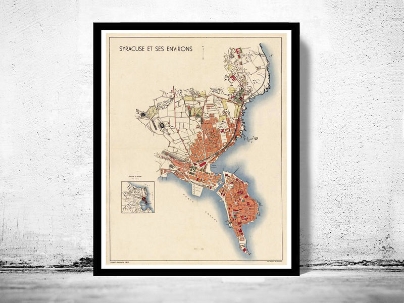Old Map of Syracuse Sicily, Italia 1930 Siracusa - product image
