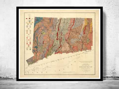 Old,Map,Connecticut,1906,United,States,of,America,connecticut poster, connecticut map, map of connecticut, connecticut