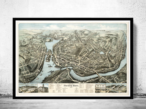 Old,Map,of,Norwich,Connecticut,1876,Vintage,norwich, norwich map, map of norwich, norwich connecticut, norwich poster