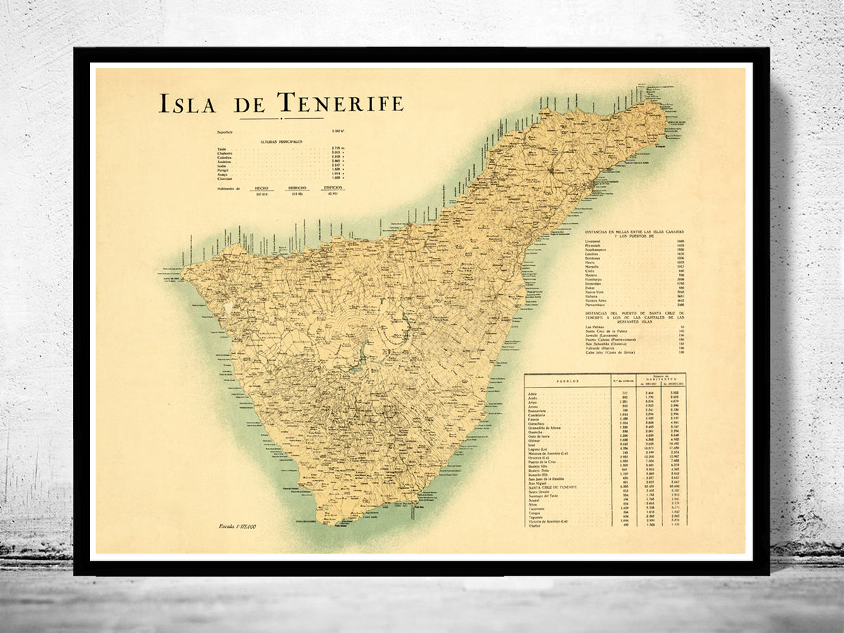 Old Map of Tenerife Canary Islands 1910 Spanish map - product image