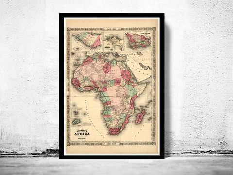 Old,Map,of,Africa,1864,Art,Reproduction,Open_Edition,atlas,Angola,old_map_of_africa,africa_map,vintage_map_africa,antique_africa_map,map_of_africa,antique africa,vintage africa,wall decor africa,africa decor,wall map africa