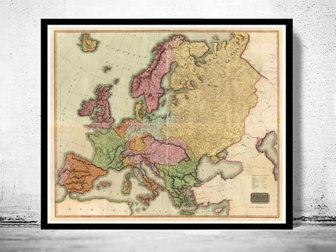 Beautiful,Old,Map,of,Europe,1816,map of europe, Art,Reproduction,Open_Edition,Italy,England,Greece,Sweden,Norway,europe_map,vintage_map,old_map_of_europe,vintage_europe,europe_wall_decor,europe_decor,wall_map,vintage_map_europe