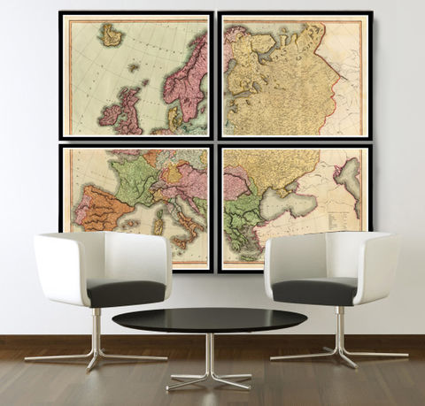 Beautiful,Old,Map,of,Europe,1816,(four,plates),map of europe, Art,Reproduction,Open_Edition,Italy,England,Greece,Sweden,Norway,europe_map,vintage_map,old_map_of_europe,vintage_europe,europe_wall_decor,europe_decor,wall_map,vintage_map_europe