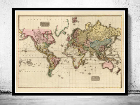 Old World Map World Wonders Vintage Poster OLD MAPS AND VINTAGE - Large sepia world map