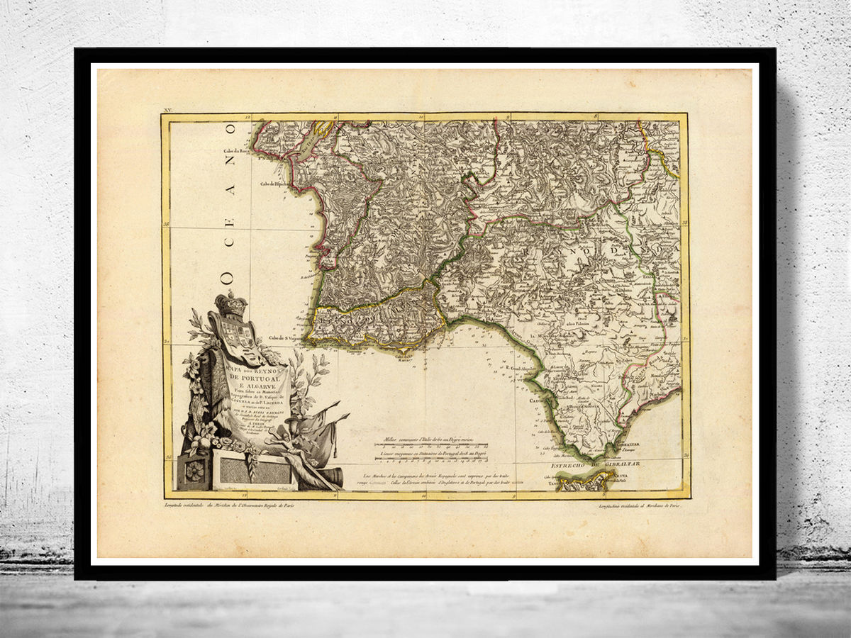 Old Map Of Algarve And Portugal 1780 Portuguese Map Vintage