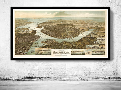 Norfolk,Virginia,1892,Panoramic,View,Vintage,norfolk, map of norfolk, norfolk city, norfolk map, norfolk virginia, panoramic view, birdseye, maps and prints, old map