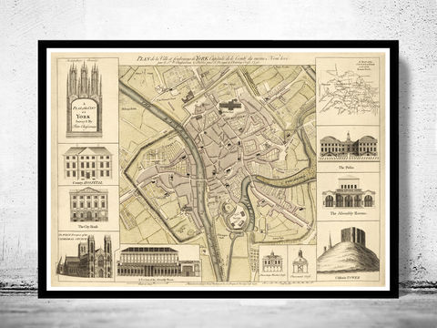 Old,Map,of,York,England,1750,Vintage,Art,Reproduction,Open_Edition, York uk, York map, map of York, york poster, map, old map, maps and prints, map reproductions, maps for sale