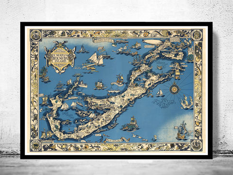 Old,Map,of,Bermuda,islands,1930,Vintage,bermudas, bermudas map, bermudas islands map, map of bermudas, bermudas poster, caribbean map, antillas, gulf of mexico, map, florida, nicaragua