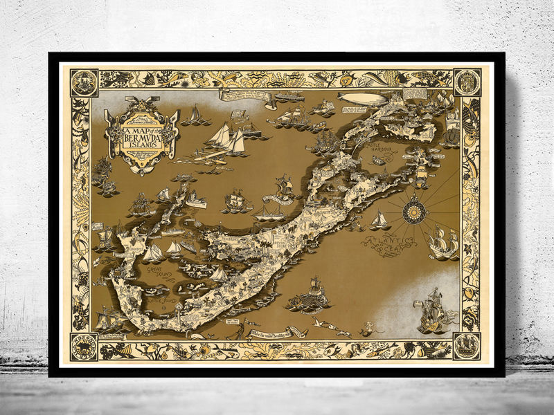 Vintage Map of Bermuda islands 1930 - product image
