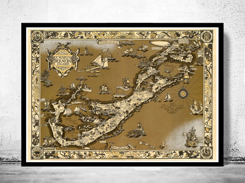 Vintage,Map,of,Bermuda,islands,1930,bermuda, bermuda map, bermudas islands map, map of bermuda, bermuda poster, triangulo bermudas