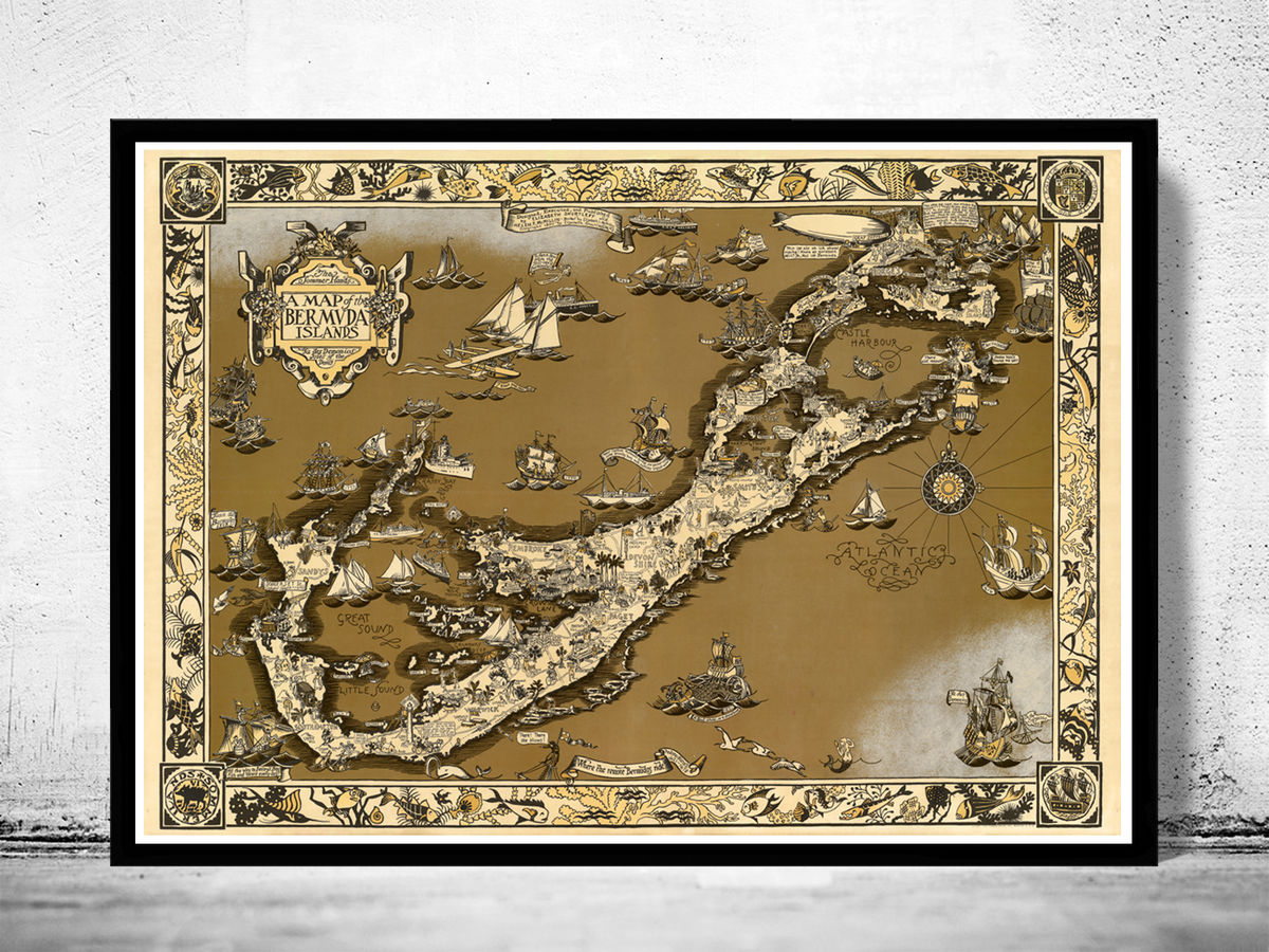Vintage Map of Bermuda islands 1930 - product images  of