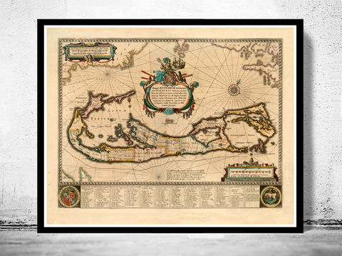 Old,Map,of,Bermuda,islands,1662,bermuda, bermuda map, bermuda islands map, map of bermuda, bermuda poster, caribbean map, antillas, gulf of mexico, map, florida, nicaragua