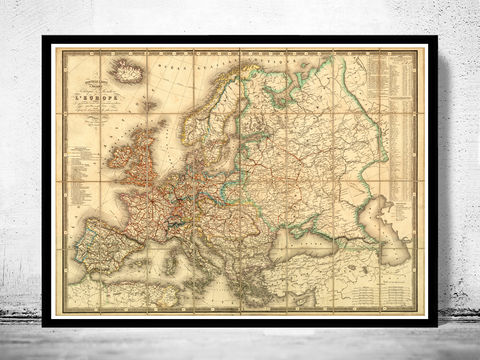Old,Europe,Map,1867,map of europe, europe, europe map, old map, vintage map, antique map