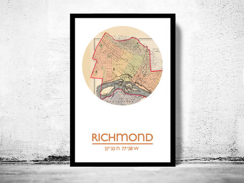 RICHMOND,VA,-,city,poster,map,print, RICHMOND print, RICHMOND poster, RICHMOND VA Poster, american art, RICHMOND, RICHMOND map, wall decor, city,maps, travel poster