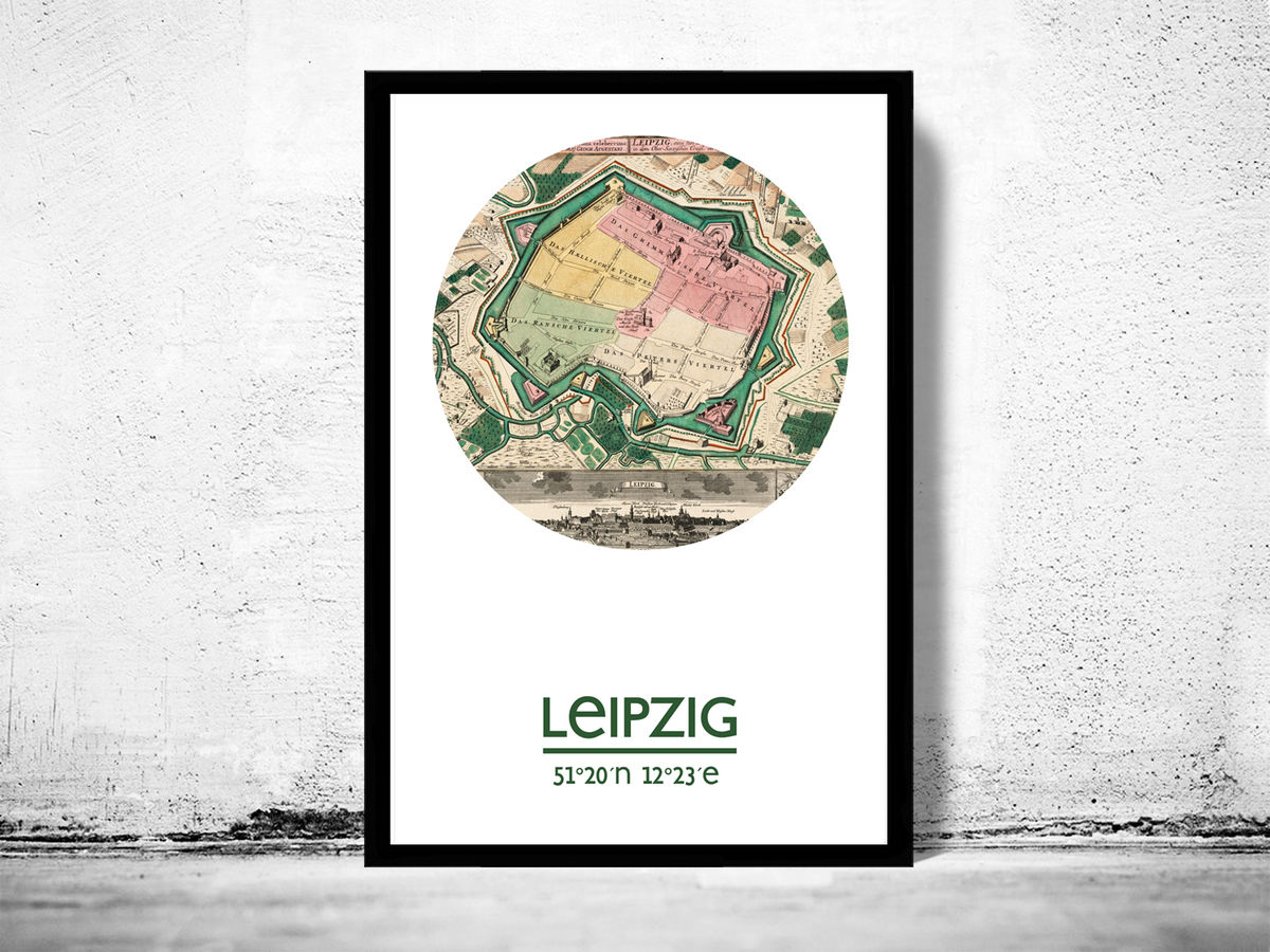 LEIPZIG - city poster  - city map poster print - product images  of