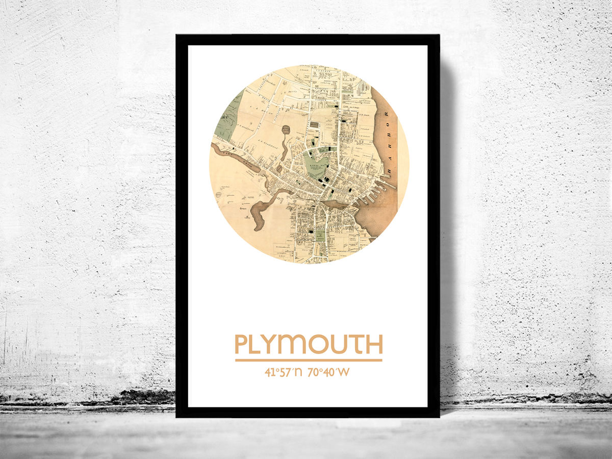 PLYMOUTH MA - city poster - city map poster print - product images  of
