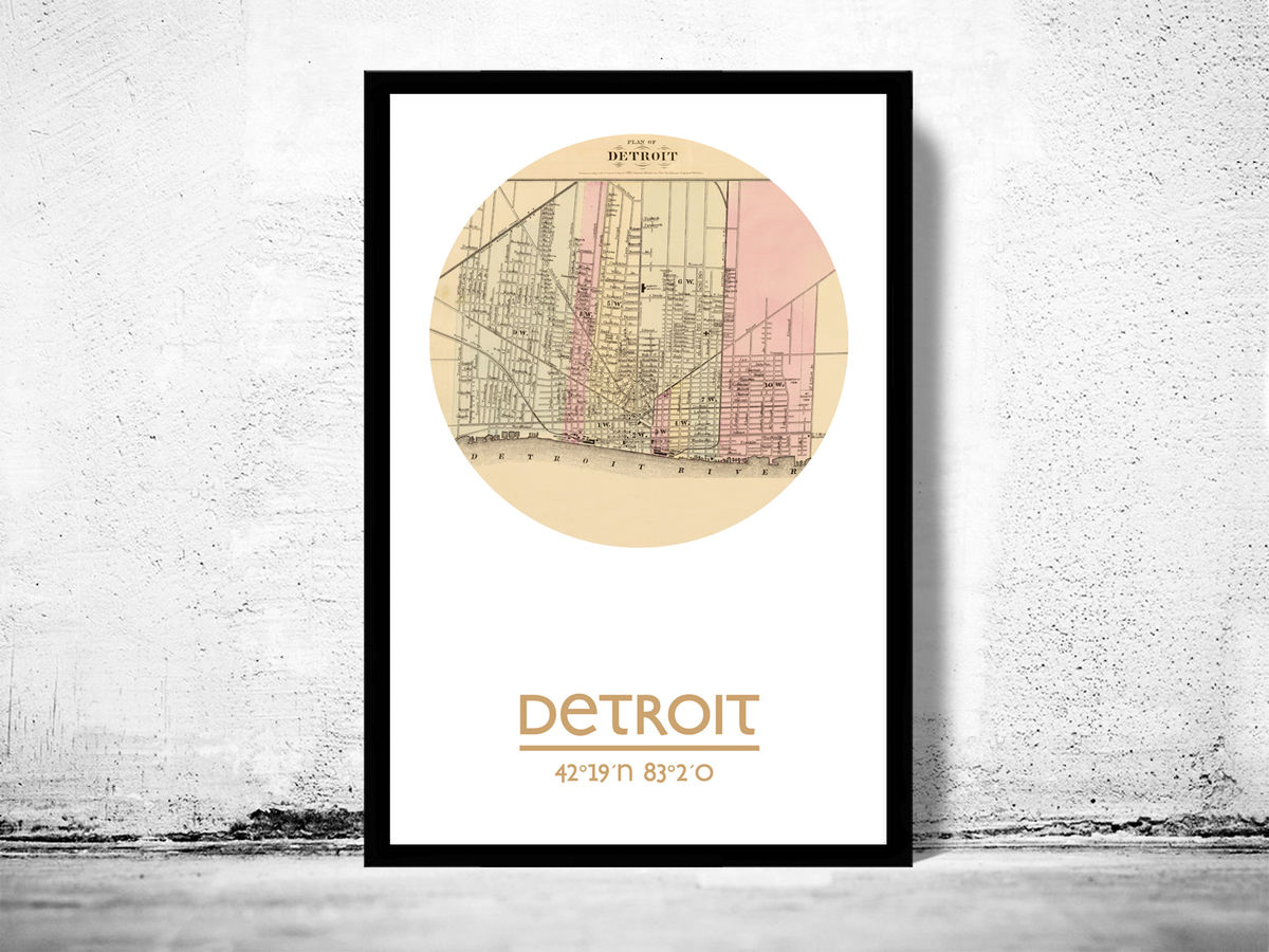 DETROIT- city poster - city map poster print - product images  of