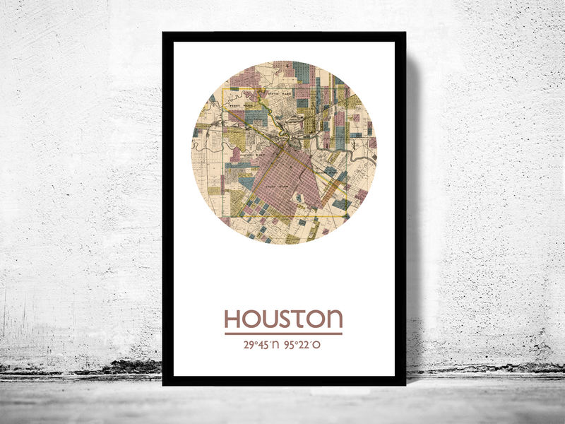 HOUSTON- city poster - city map poster print - product image