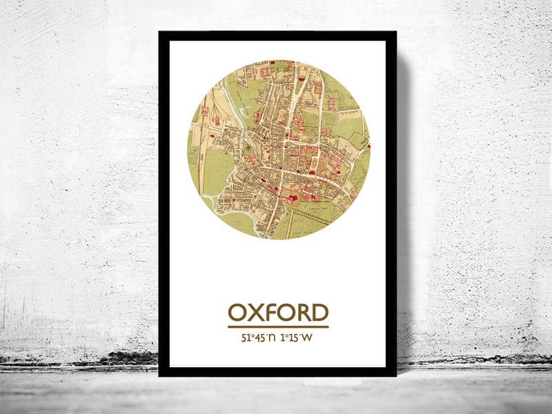OXFORD - city poster  - city map poster print - product image