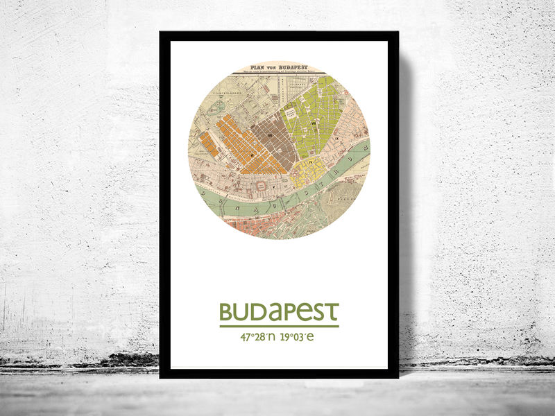 BUDAPEST - city poster - city map poster print - product image