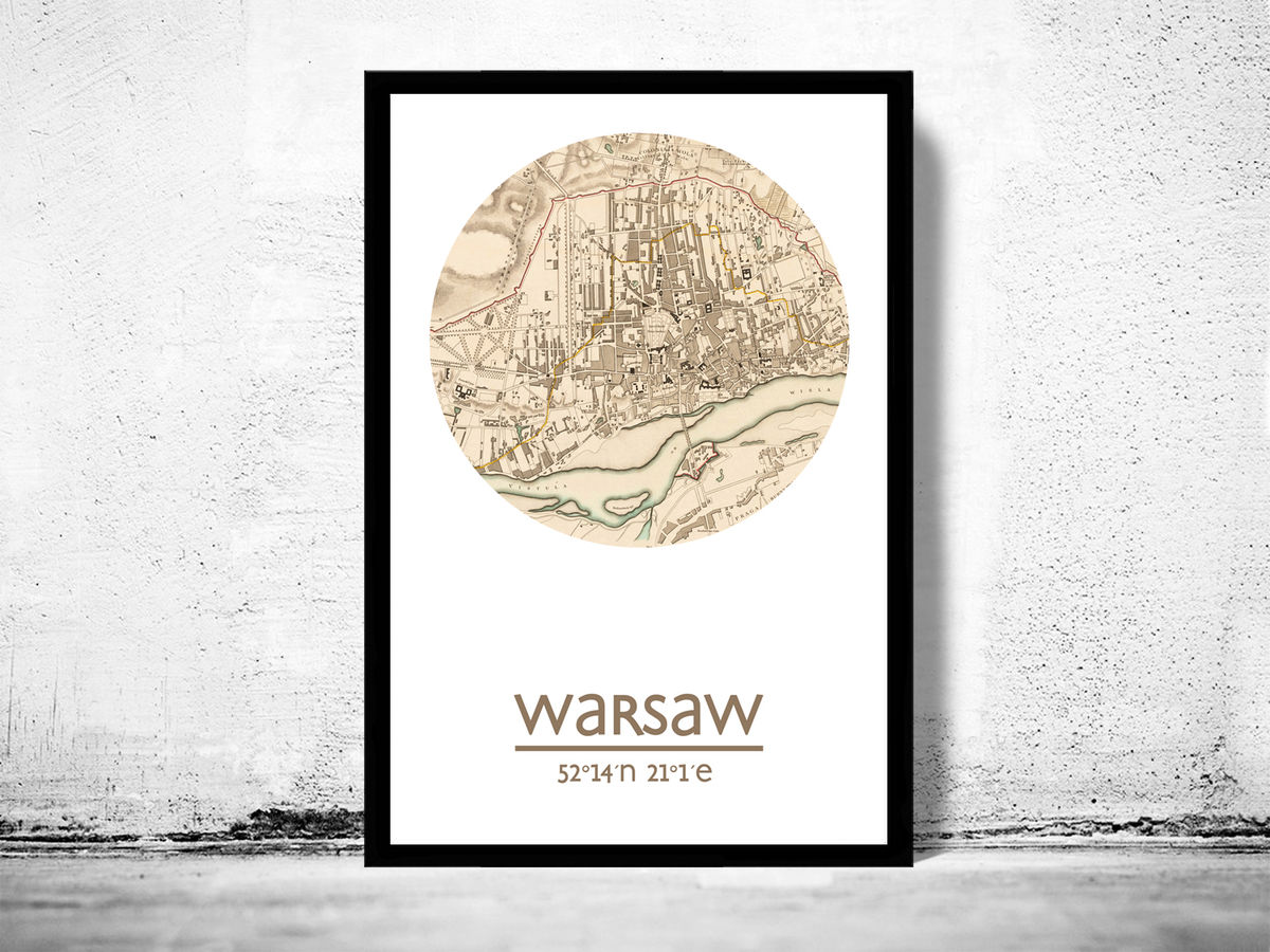 WARSAW - city poster - city map poster print - product images  of