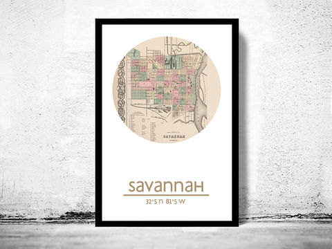SAVANNAH,GA,-,city,poster,map,print, SAVANNAH print, SAVANNAH poster, united states Poster, american art, SAVANNAH GA, SAVANNAH map, wall decor, city, travel poster