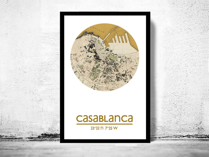 CASABLANCA - city poster - city map poster print - product image