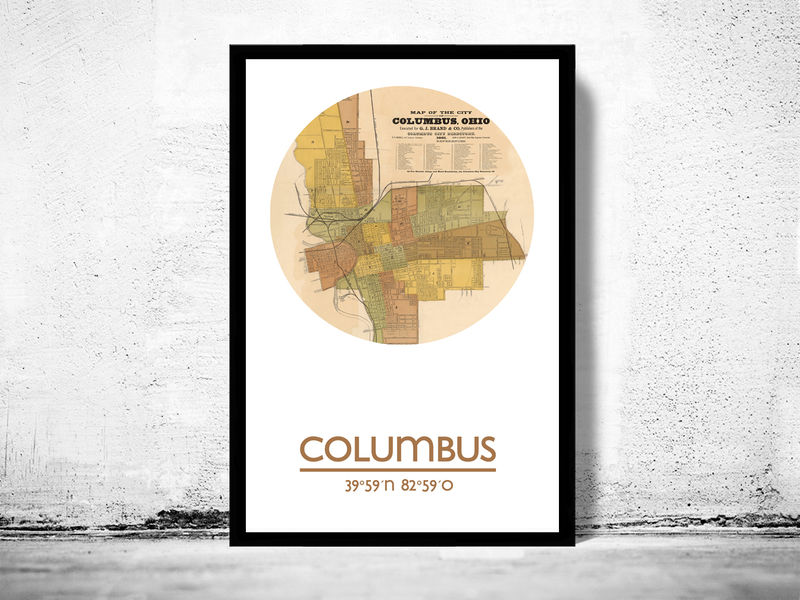 COLUMBUS OHIO - city poster - city map poster print - product image