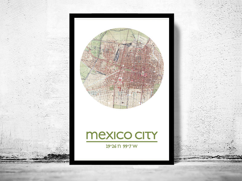 MEXICO CITY - city poster - city map poster print - product image