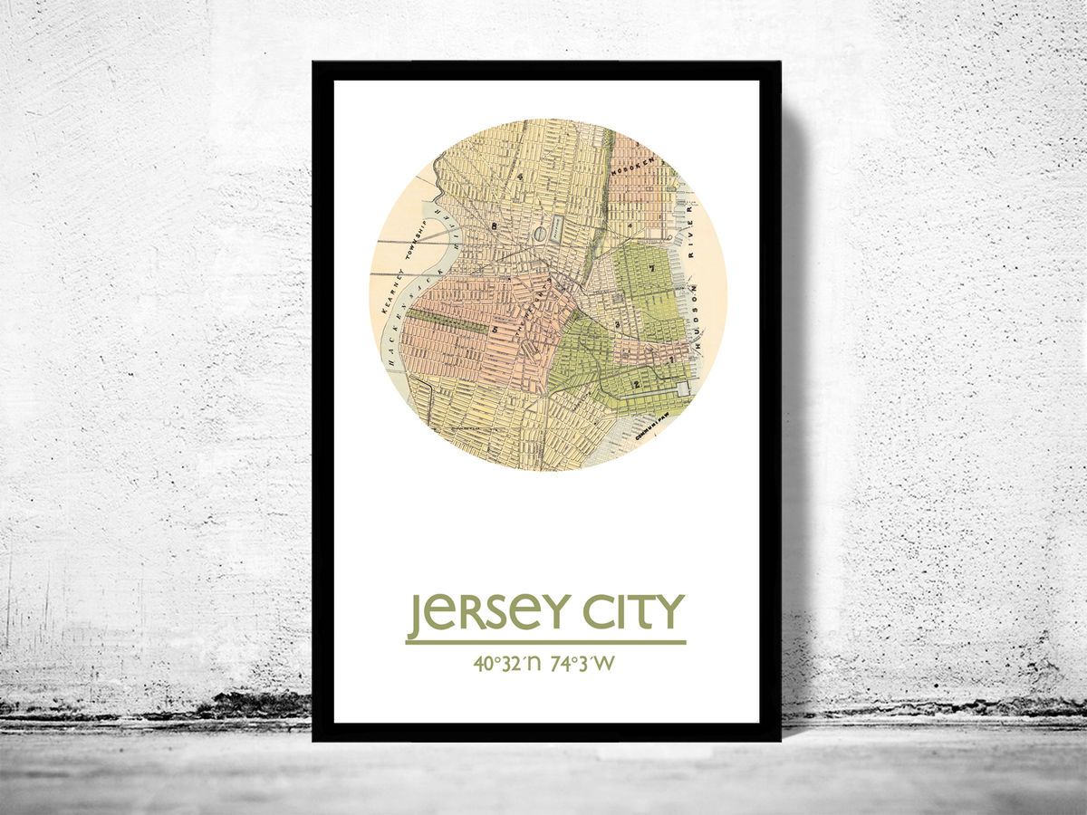 JERSEY CITY - city poster - city map poster print - product images  of