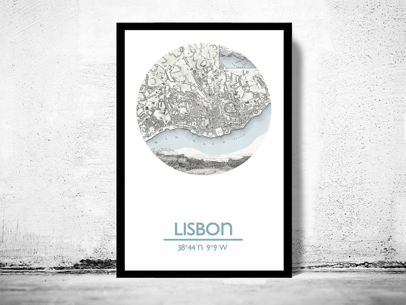 LISBON - city poster - city map poster print - product image