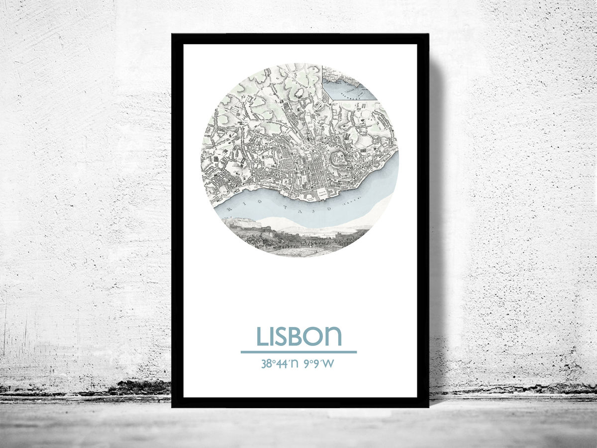 LISBON - city poster - city map poster print - product images  of