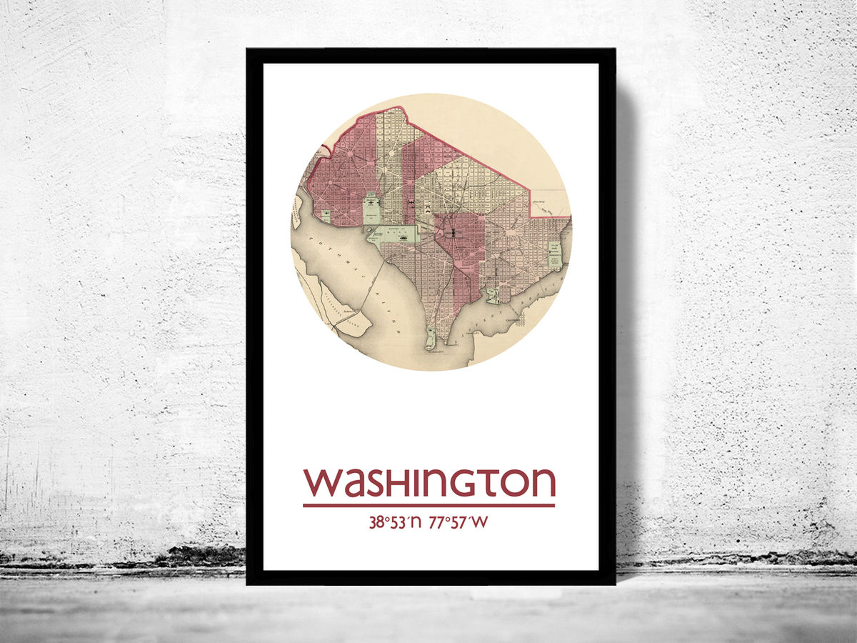 WASHINGTON - city poster - city map poster print - product images  of
