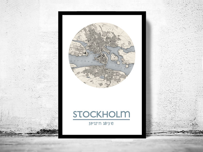 City Map Prints STOCKHOLM   city poster   city map poster print   OLD MAPS AND