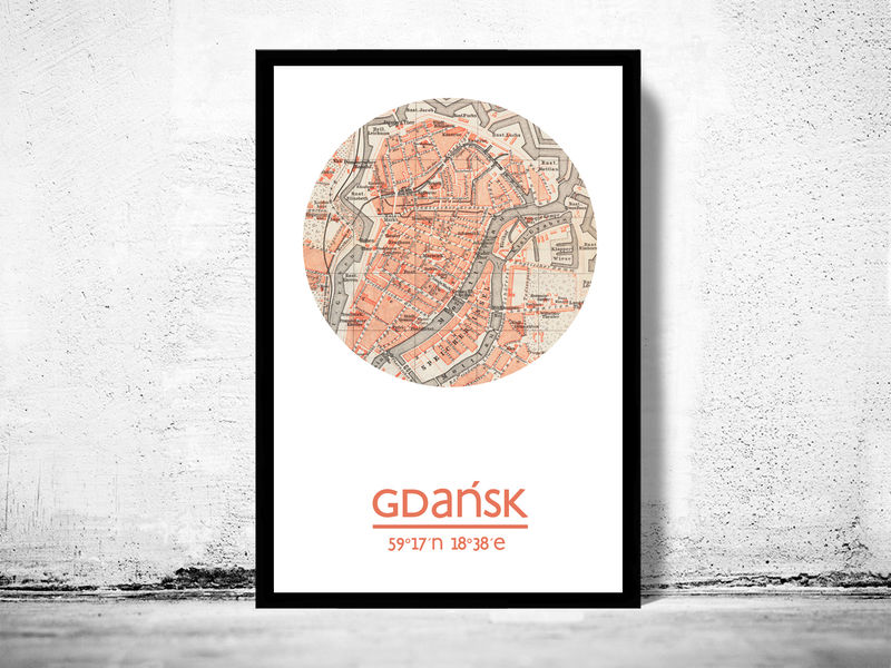 GDANSK - city poster - city map poster print - product image