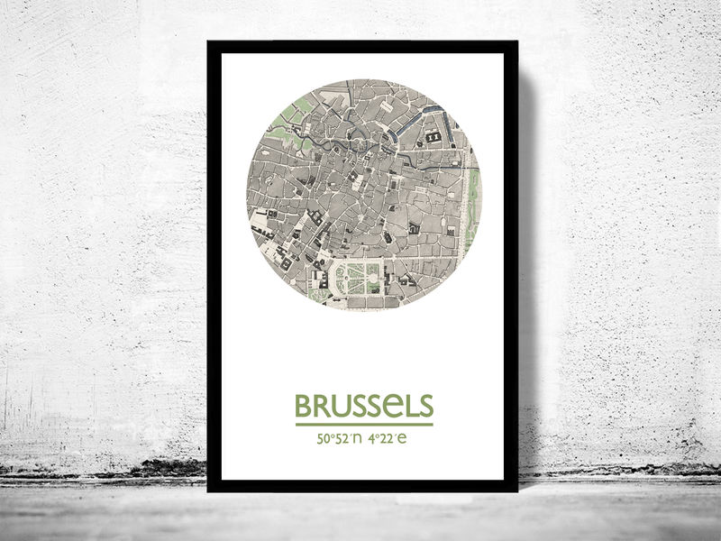 BRUSSELS - city poster - city map poster print - product image
